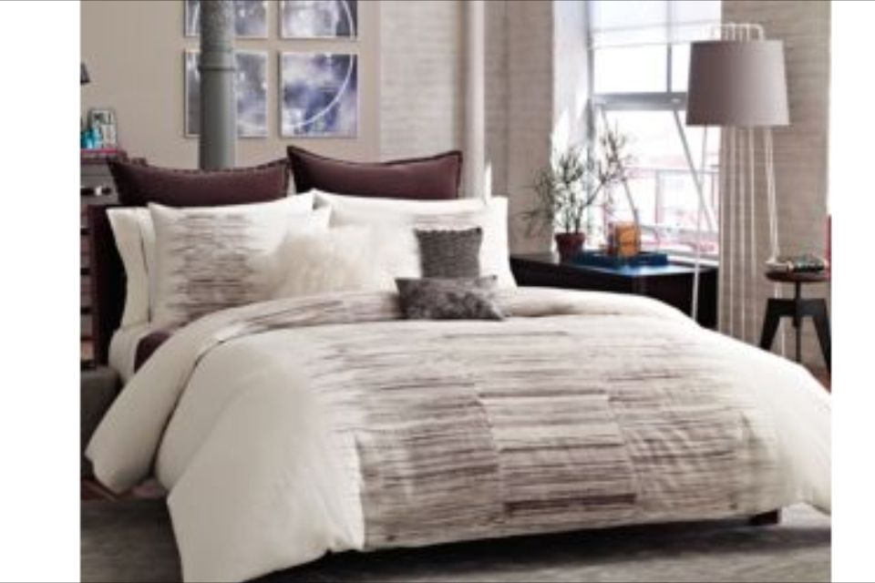 Chic Bedding With Black Leather Bed Mirrored Nightstands White