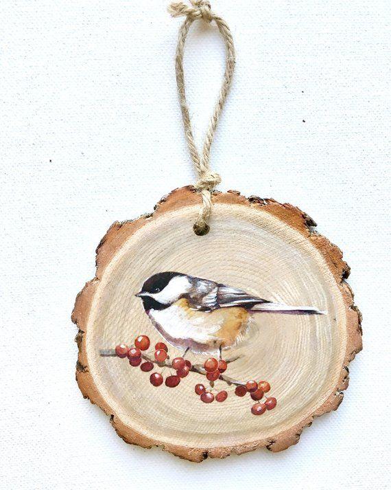 Chickadee Wood Tree Slice Ornament