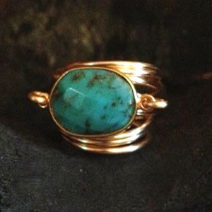 Kami Lerner - Turquoise Wire Wrap Overlap Ring