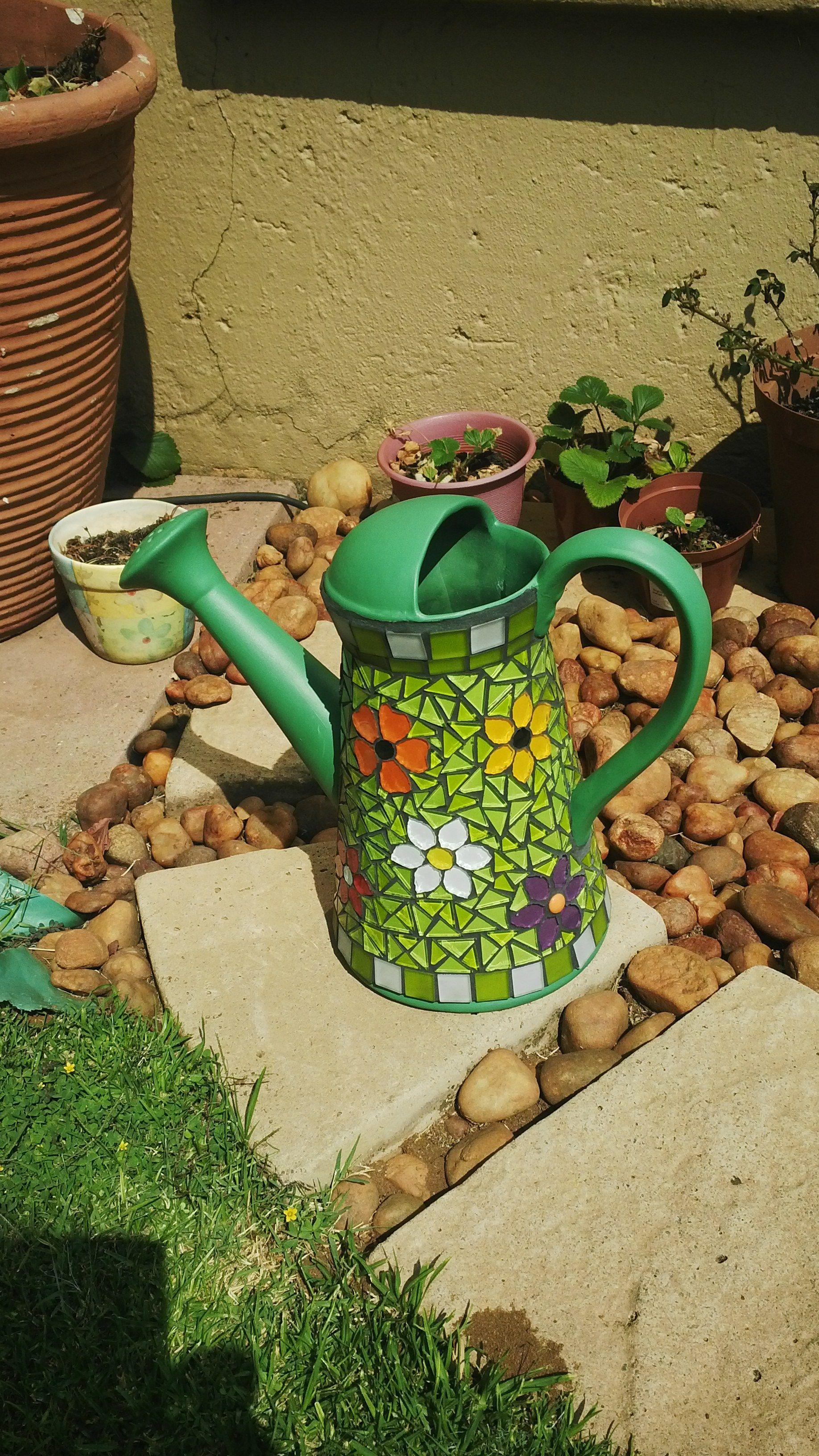 Attractive mosaic ideas for the garden ideas beautiful garden watering can mosaic garden pinteres workwithnaturefo