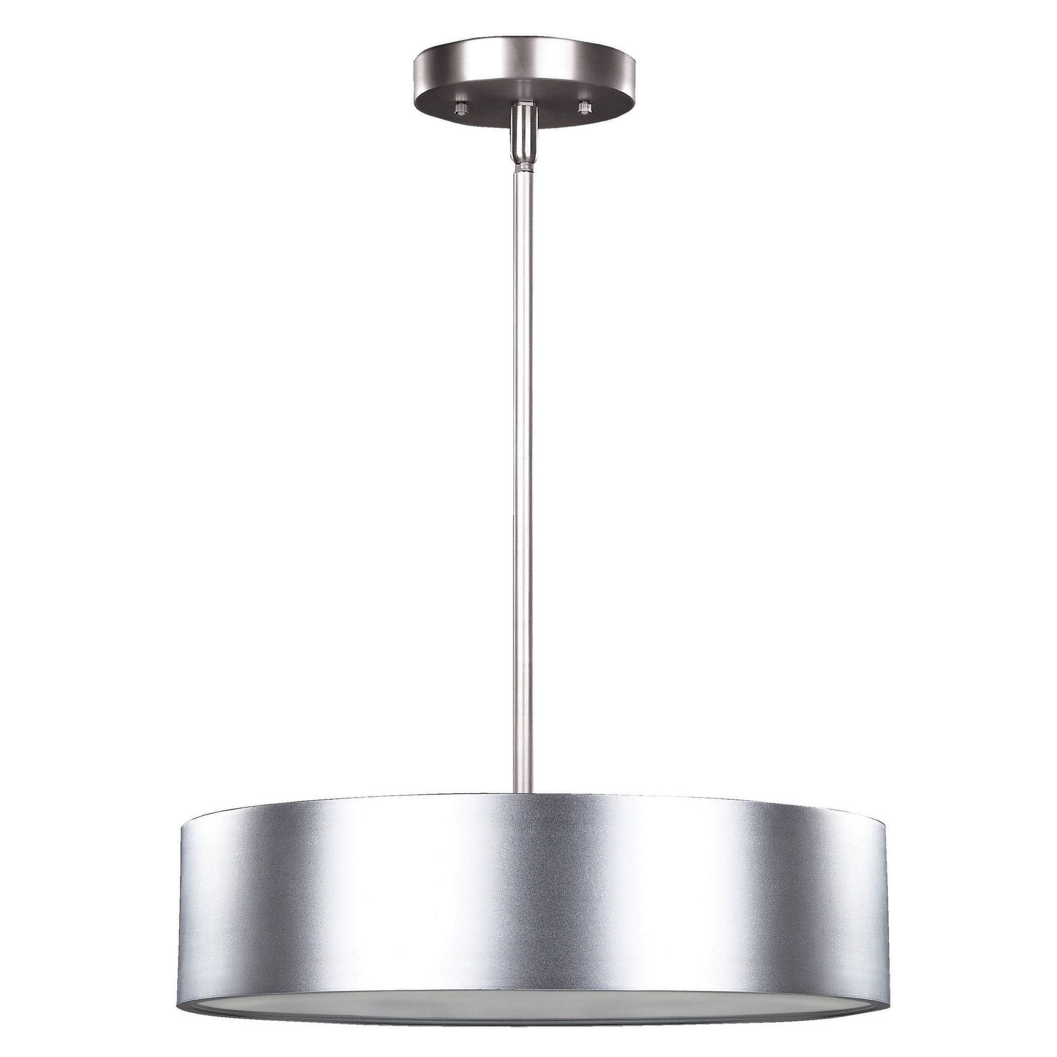Canarm Dexter 3 Light Pendant With Frosted Diffuser And Aluminum Silver Finish