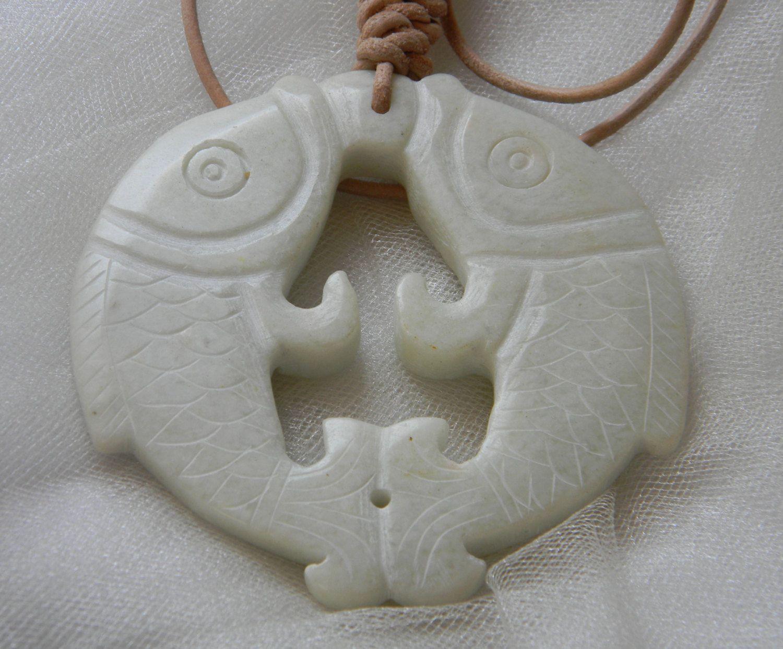 Large white jade fish pendant w leather cord jade pendant beaded chinese white jade fish pendant w leather cord beaded jewelry pair of golden carp aloadofball Choice Image