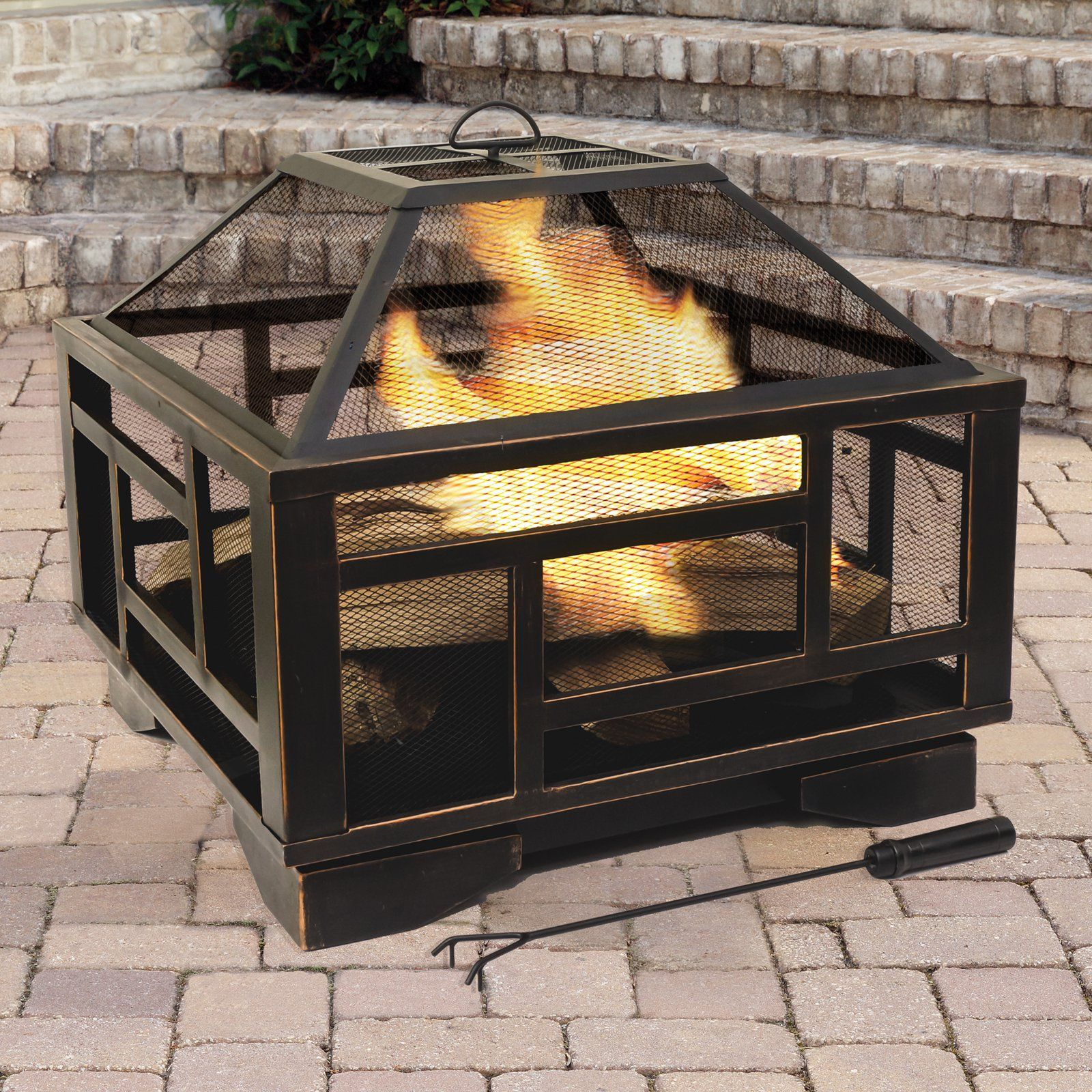 Pleasant Hearth Solus 26 In Fire Pit With Spark Screen Wood Burning Fire Pit Gazebo With Fire Pit Fire Pit Furniture