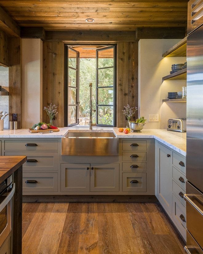 rustic kitchen with cabinets painted in benjamin moore gettysburg grey har european on kitchen cabinets rustic farmhouse style id=41062