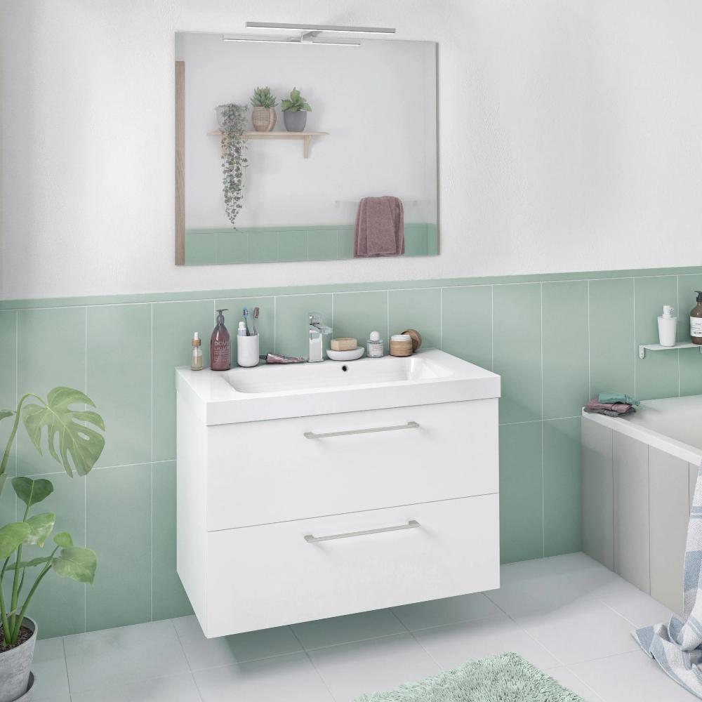 Meuble De Salle De Bains L 90 X H 58 X P 46 Cm Blanc Remix In 2020 Living Room On A Budget Home Decor Storage Cabinets