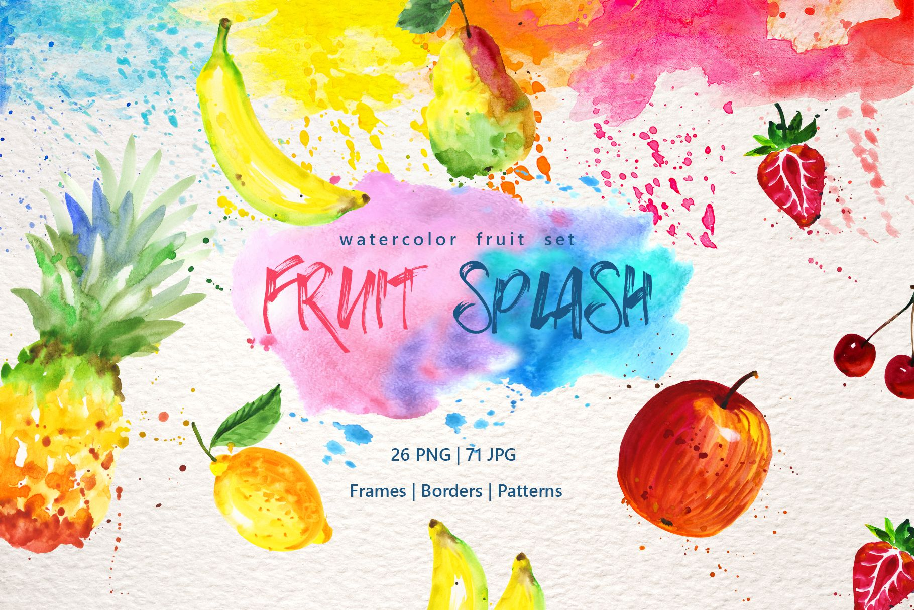 Watercolor Fruits Png Set Graphic By Mystocks In 2020