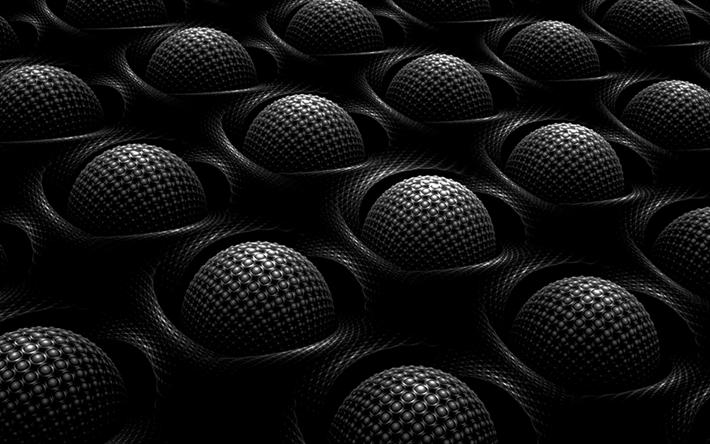 Lataa kuva 3d-aloilla, art, musta aloilla, 3d art, geometrisia muotoja, luova, aloilla