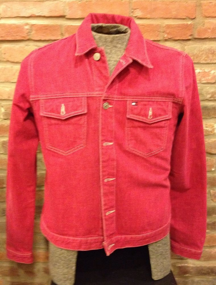 Tommy Hilfiger Red Denim Jacket Jean Coat Ladies Womens Size Medium Magenta Pink #TommyHilfiger #JeanJacket