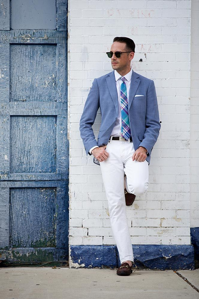 White Jeans and Shirt Men Dress
