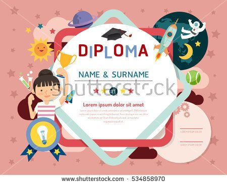 Certificate kids diploma, kindergarten template layout space - sample certificates for kids