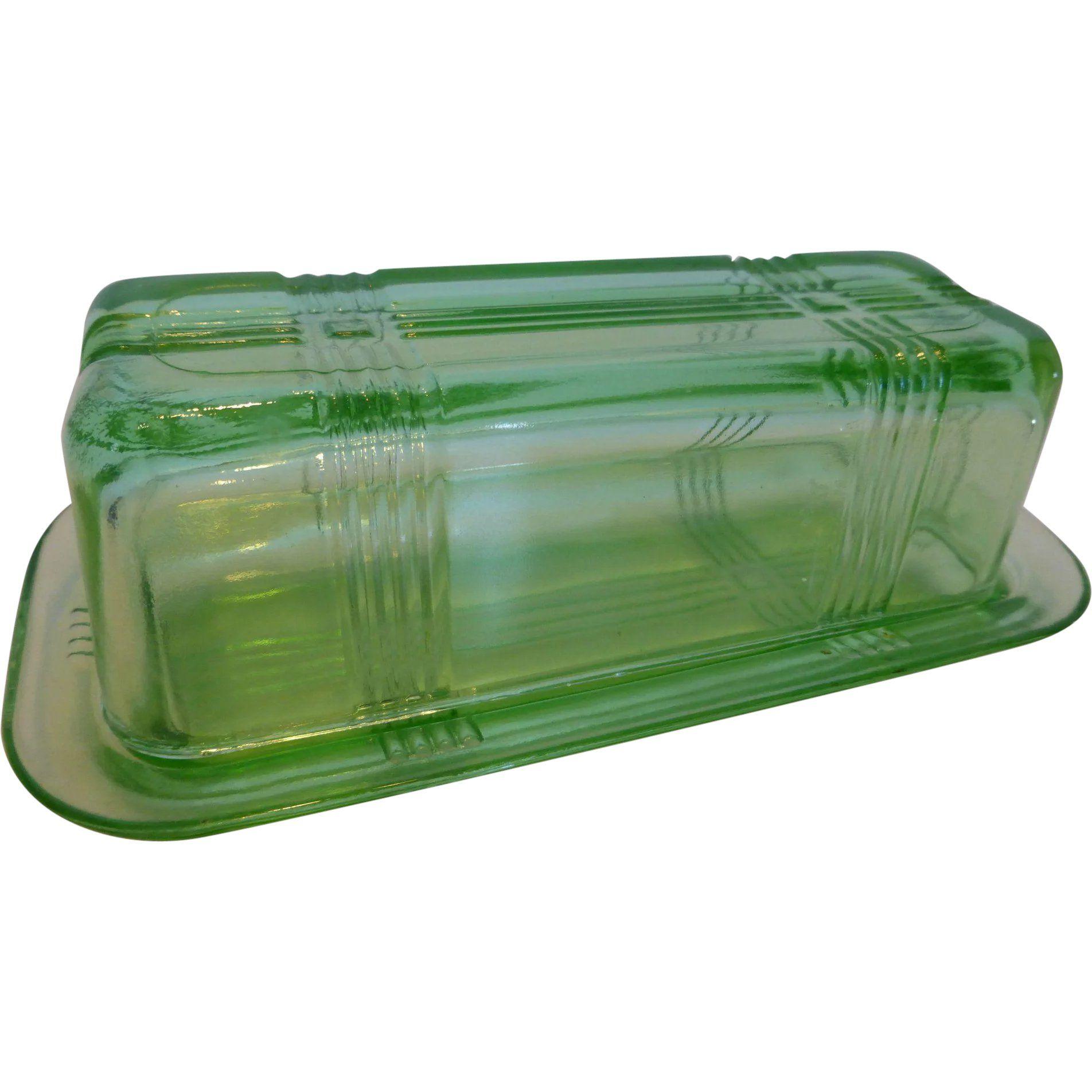 G609 Hazel Atlas Crisscross Green Glass Butter Dish W Lid 1 4 Lb Green Glass Vintage Kitchenware Glass