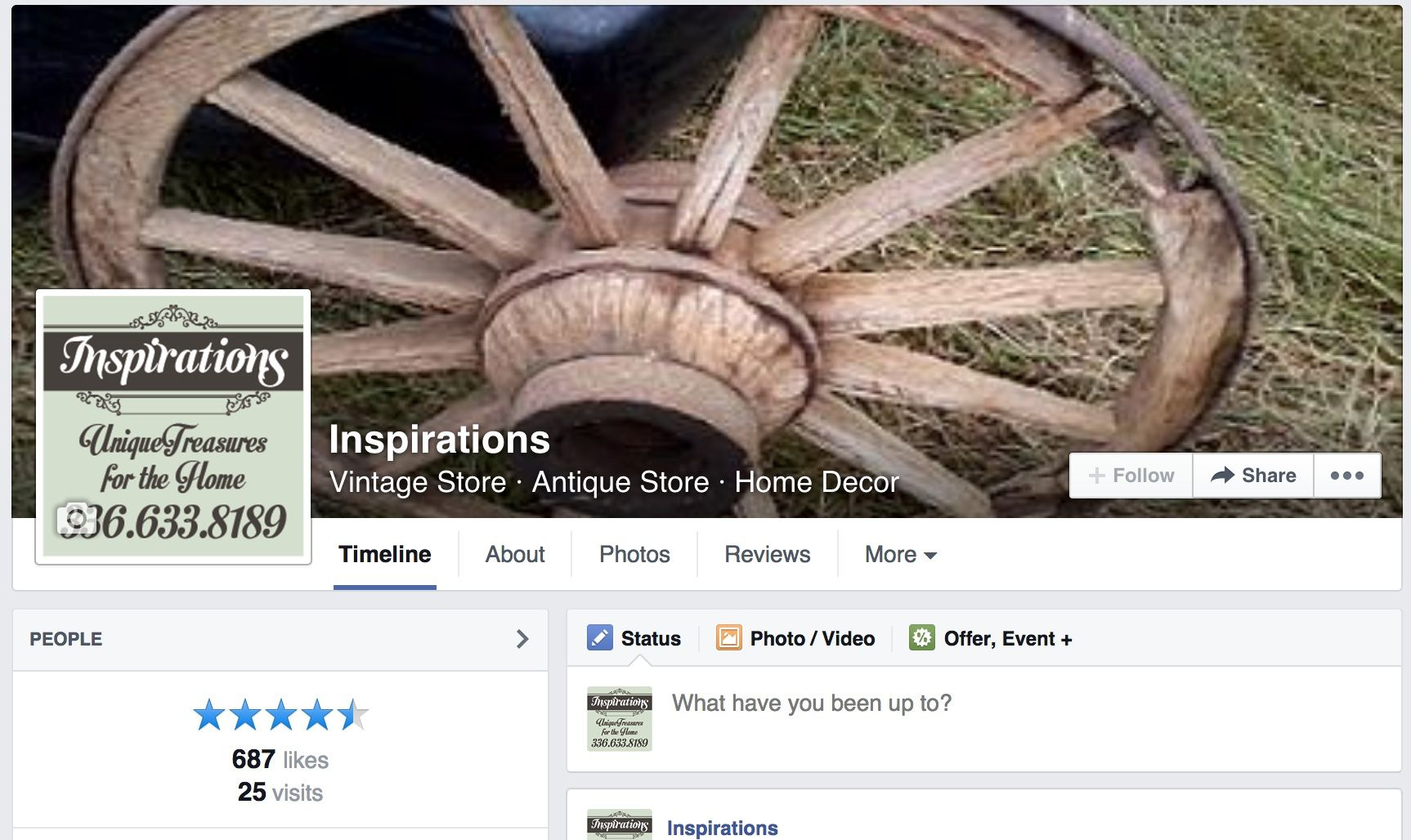 Inspirations Facebook Business page.  Join us to see all our new items.