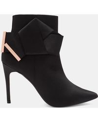 0b8877d9f Ted Baker - Knotted Bow Satin Ankle Boots - Lyst