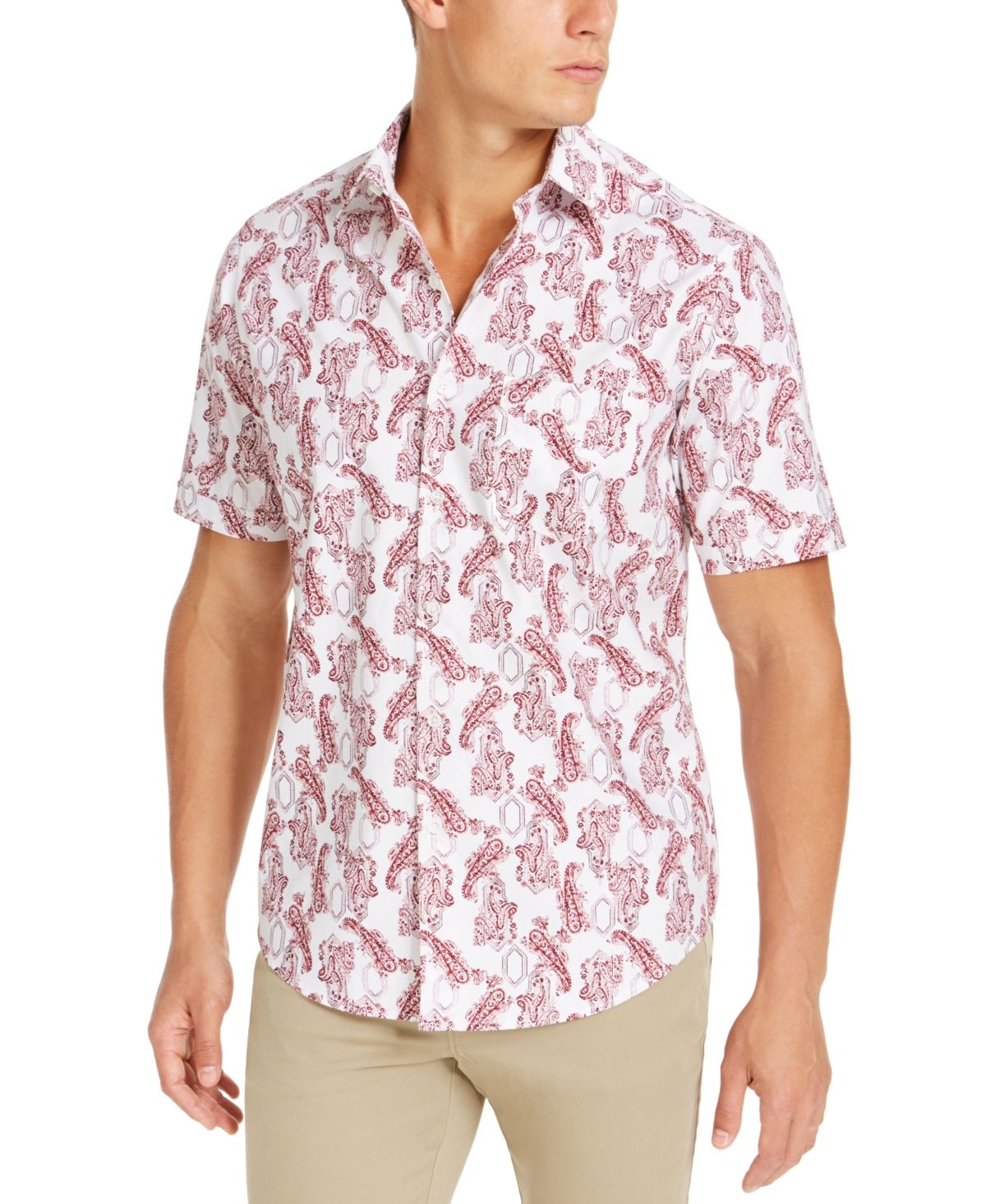 Tasso Elba Printed Woven Long Sleeve Button Down Shirt