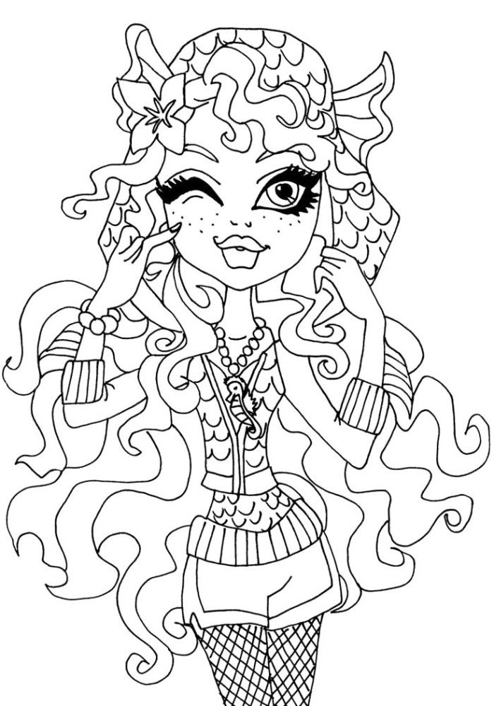 Lagoona Blue Posing Coloring For Kids - Monster High Coloring Pages ...