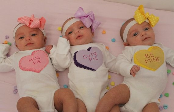 Valentines day candy heart custompersonalized name onesies items similar to valentines day candy heart set of 3 bodysuits for triplets triplets pick triplets baby shower gift triplets valentine set on etsy negle Images