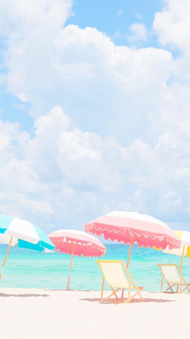 Matt Crump Photography Iphone Wallpaper Pastel Beach Umbrellas