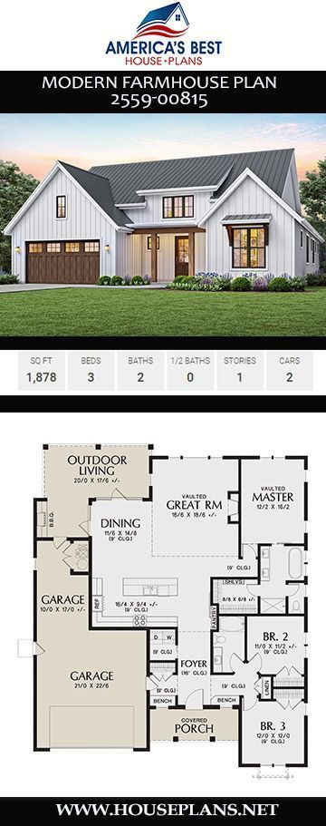 House Plan 2559-00815 - Modern Farmhouse Plan: 1,878 Square Feet, 3 Be