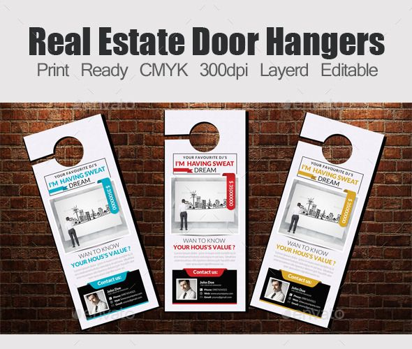 Real Estate Door Hangers Template & Real Estate Door Hangers Template | Door hanger template Hanger and ...