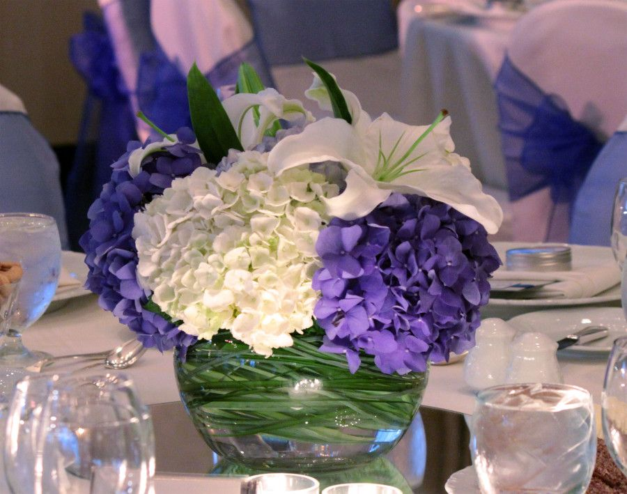 Wedding centerpieces blue and lavender deep