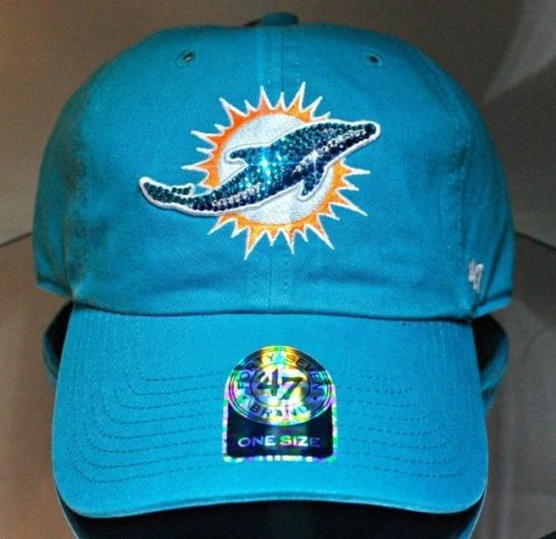 Miami Dolphins Womens Bling Hat Cap Relaxed Fit Worlds Finest Crystal  Rhinestone ea778d01020f