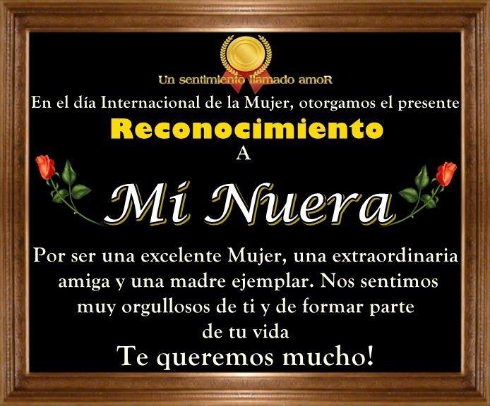 Dia De La Mujer Reconocimiento A Mi Nuera Feliz Día De San Valentín Dia De La Suegra Feliz Día