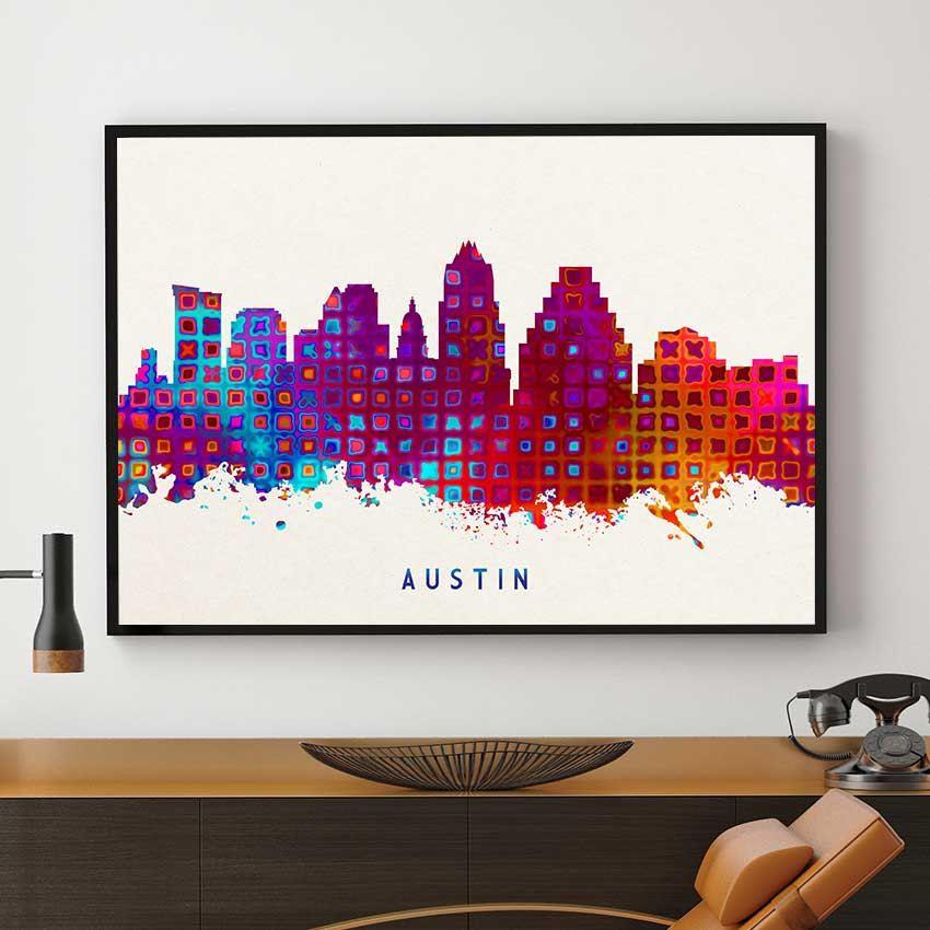 Austin skyline art austin print austin painting austin poster watercolor austin
