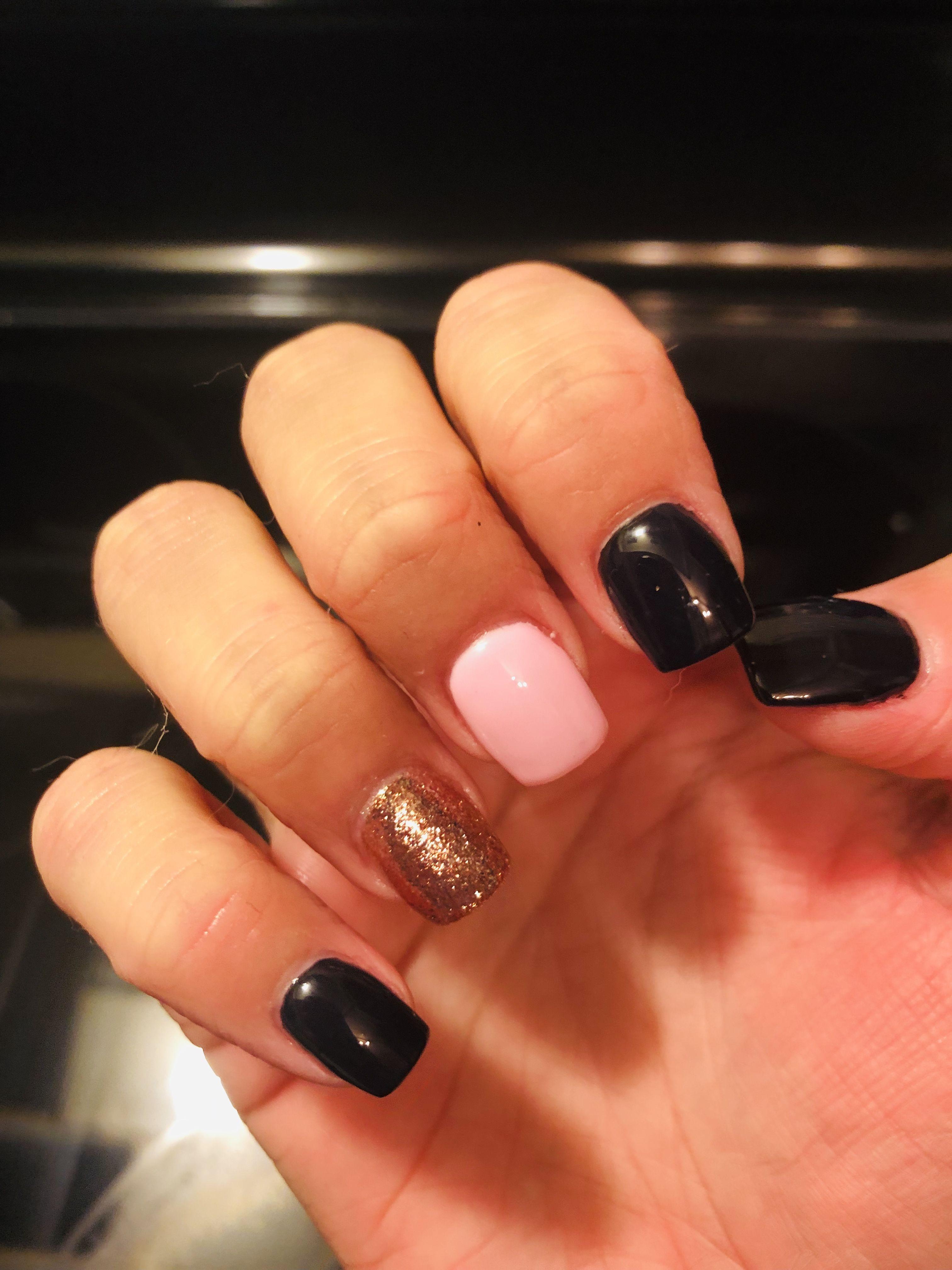 New Year S Eve Nails Nails Pink Gel Nails Black Gel Nails