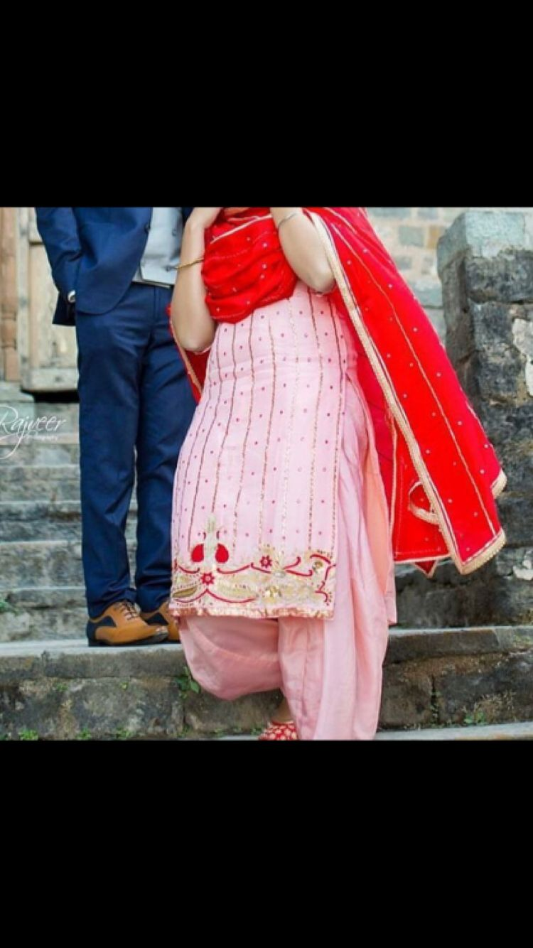 Pink Red Combination Punjabi Suit