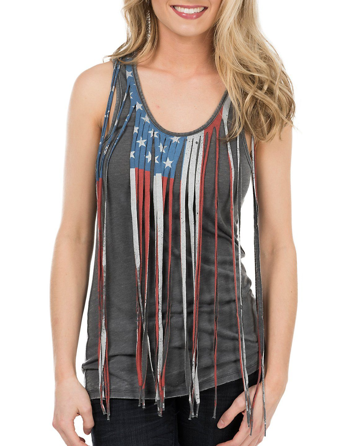 d436c61b Rock & Roll Cowgirl Women's Grey with American Flag Fringe Sleeveless  Casual Knit Top | Cavender's