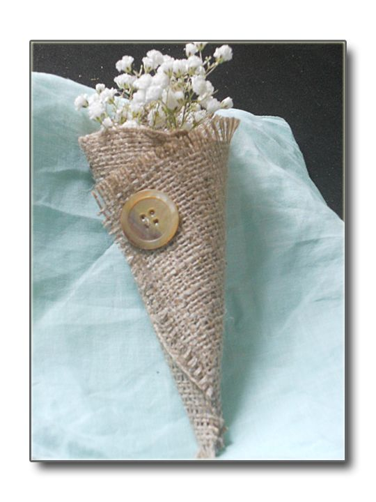 Burlap cone for tossing flowers
