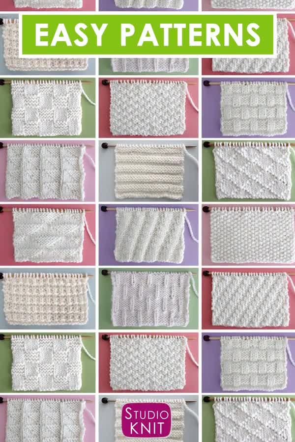 Patrons de points en tricot et à l'envers   – Video Tutorials from Studio Knit