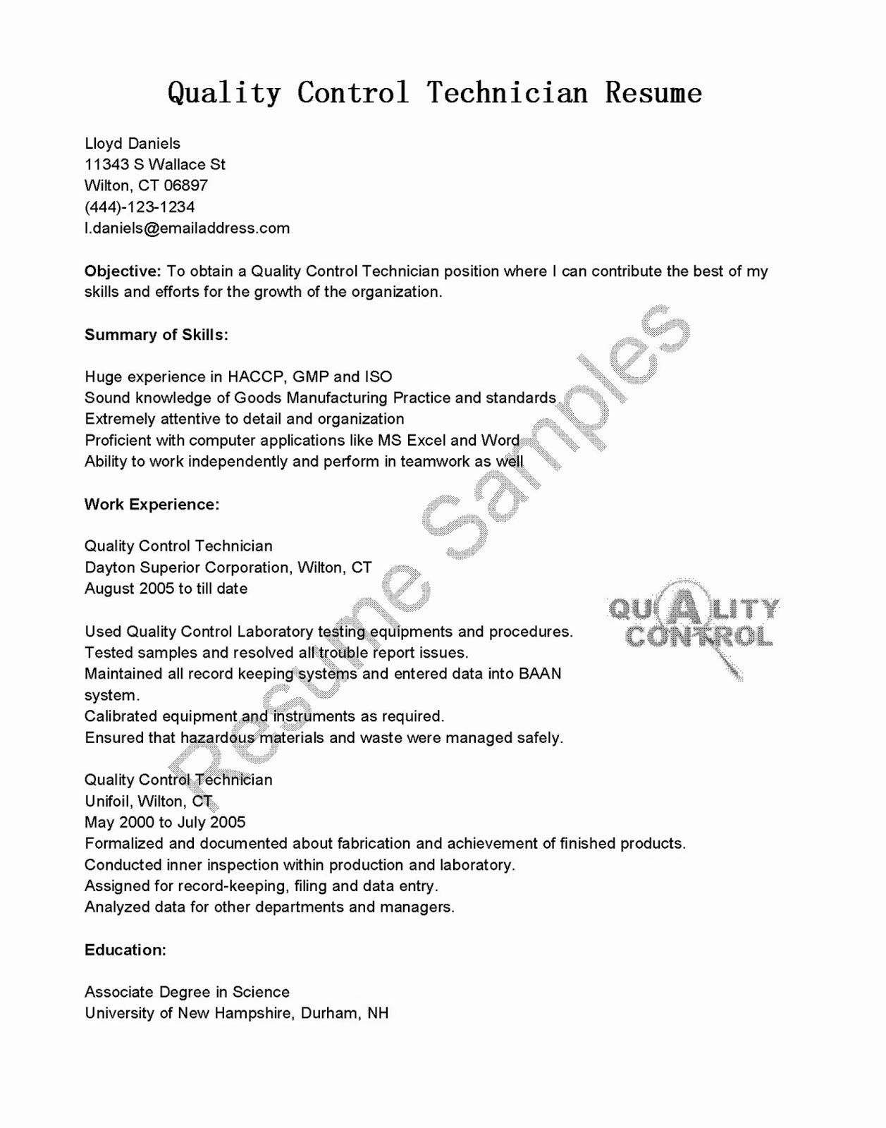 Lube Technician Job Description Resume Beautiful Resume Samples Quality Control Technician Resume Sample Cover Letter Example Resume Sample Resume
