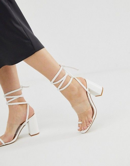 bea025d18b6 Public Desire Mia white clear detail ankle tie heeled sandals in ...