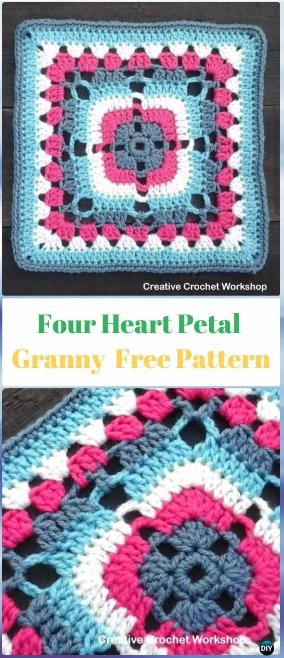 Crochet Four Heart Petal Granny Square Free Pattern - Crochet Heart ...