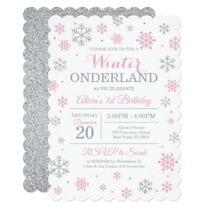 Pink Silver Winter Wonderland Birthday Invitation Birthday Gifts