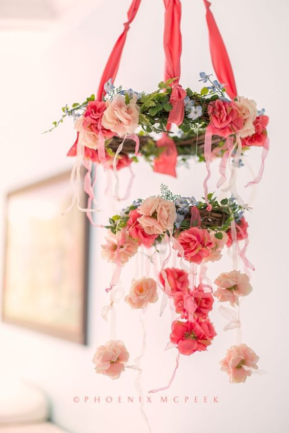 DIY Floral Mobile - perfect for a nursery or even as baby shower decor! http://projectnursery.com/2014/10/feminine-pastel-nursery/