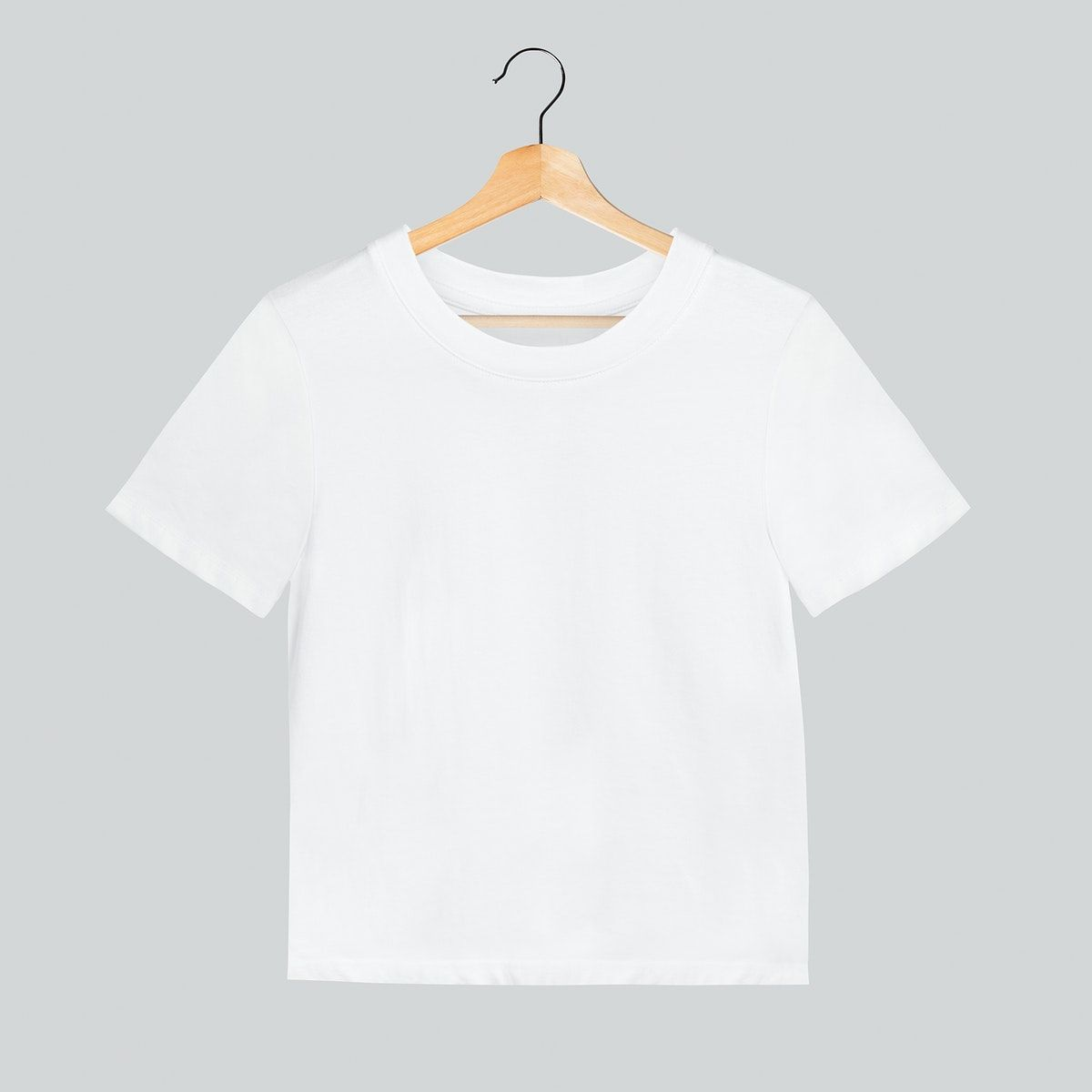Download Download Premium Illustration Of Simple White T Shirt Mockup On A Wooden Clothing Mockup Shirt Mockup Tshirt Mockup