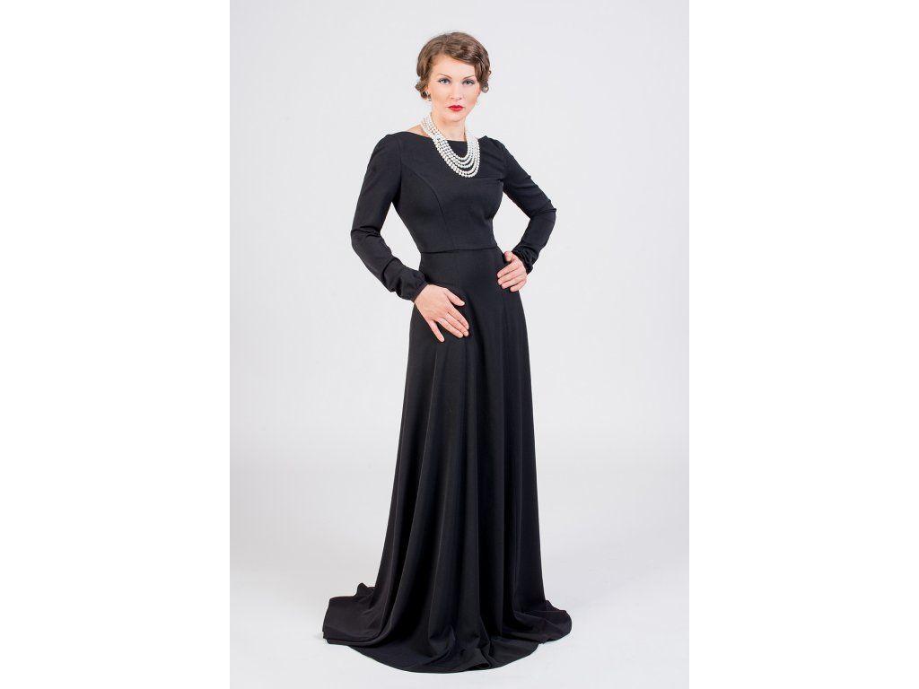 Dlouhé společenské šaty černé. přední lodičkový výstřih a hluboký V výstřih  na zádech dlouhý rukáv 8e747f7765