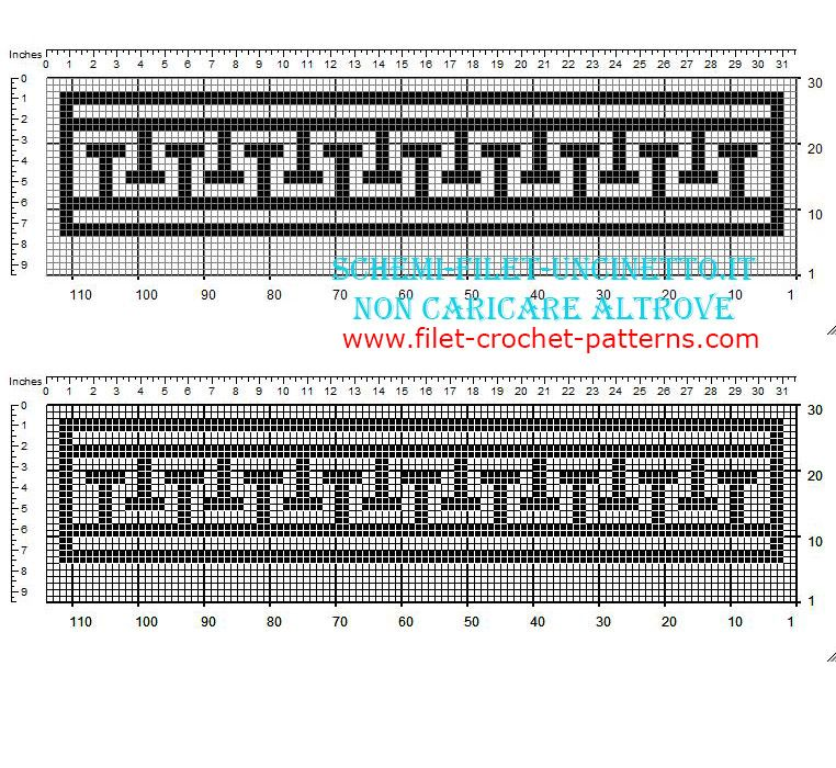Free filet crochet greek pattern letter T shape Filete