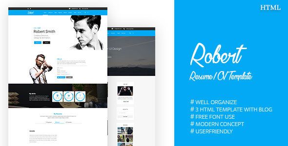 Awesome Robert  Resume  Cv Template Portfolio  Themeforest