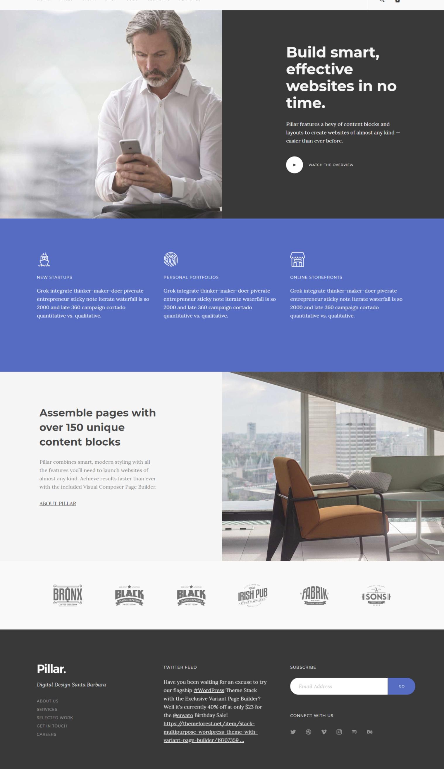 Build Pages Fast With Pillar A Versatile Multi Purpose Wordpress Theme For Modern Startups Pi Web Design Website Design Layout Responsive Web Design Template