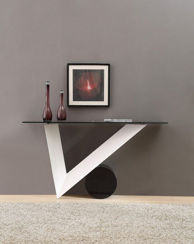 Modrest Bauhaus Modern White And Black Console Table Black Console Table Modern Console Tables Contemporary Console Table