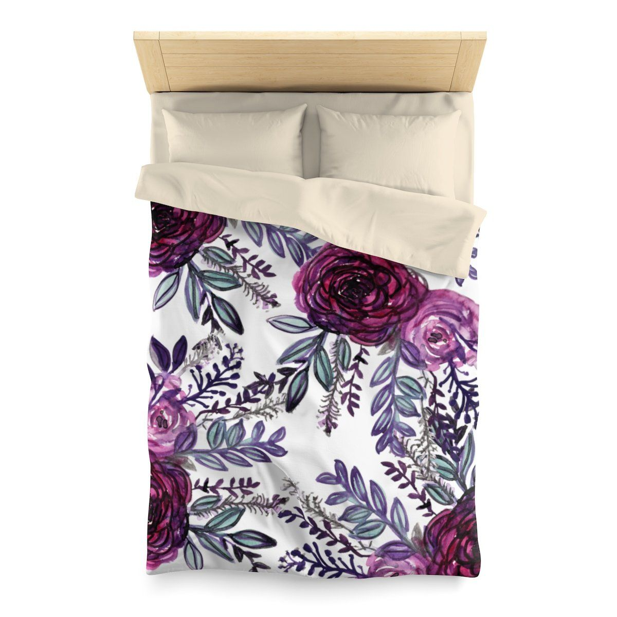 Purple Pink Floral Rose Comfy 100 Polyester Microfiber