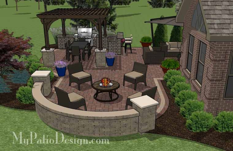 Outdoor Entertainment Patio Design With Pergola And Bar 855 Sq Ft Installation Plan