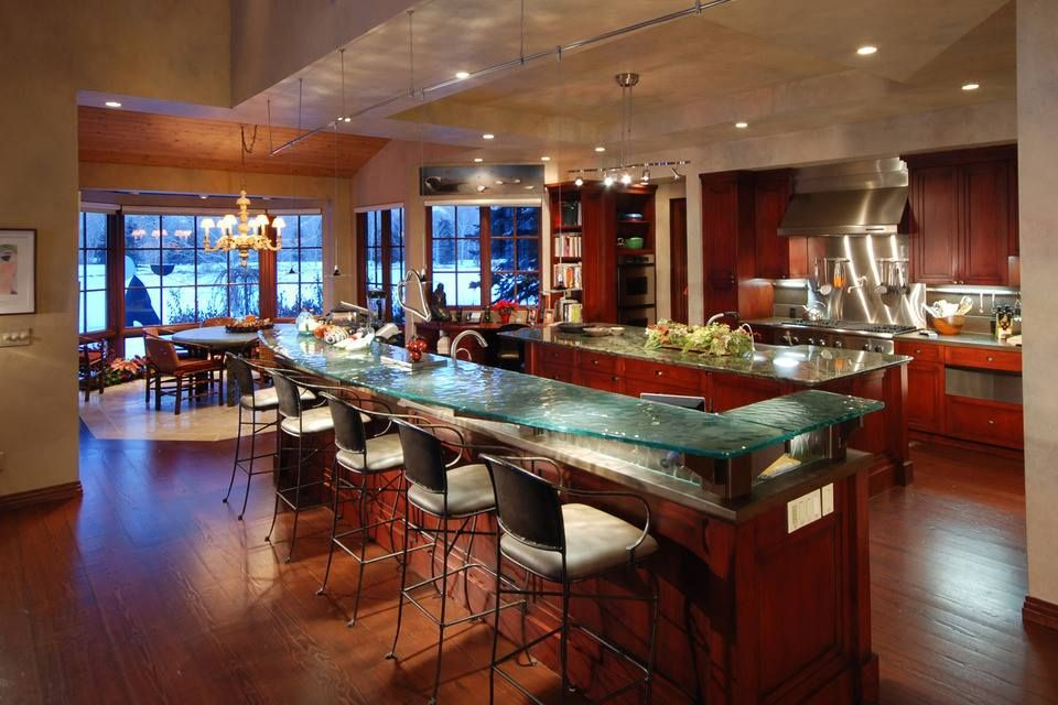 Stunning kitchen with unparalleled landscape views of Sun Valley