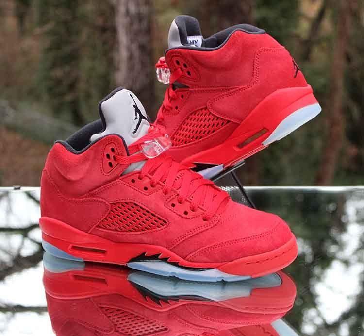buy online 22a5a cb257 Nike Air Jordan 5 Retro GS Red Suede Black 440888-602 Size 7Y  Jordan