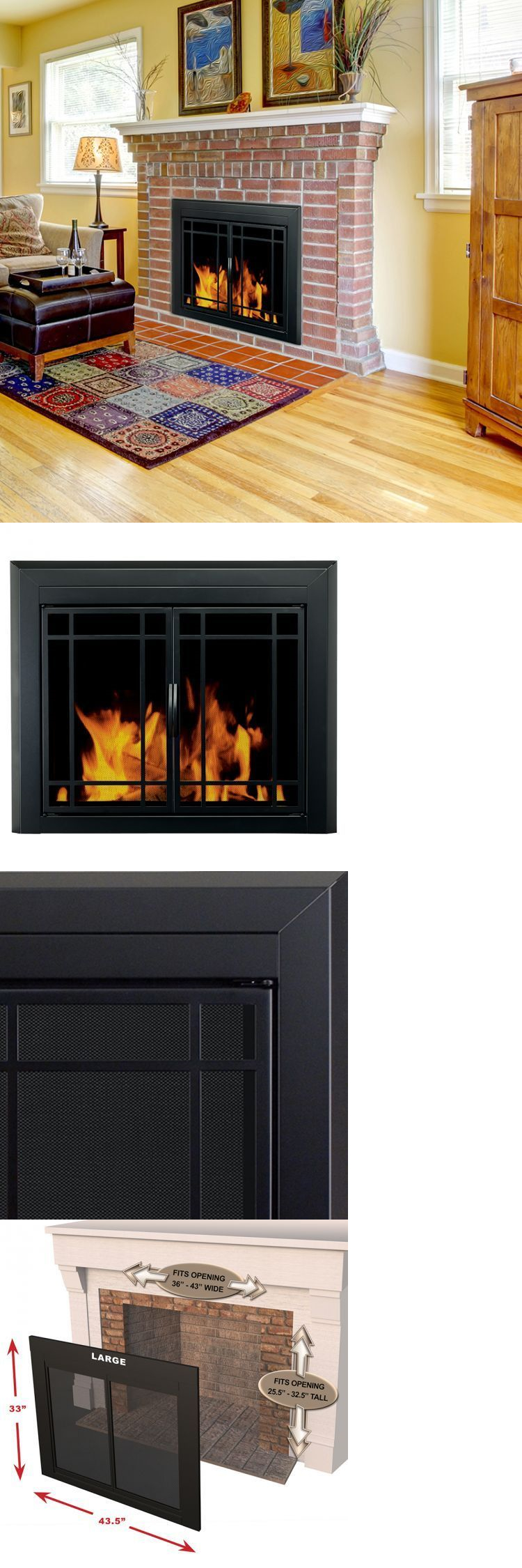 Fireplace Screens and Doors 38221: Pleasant Hearth Glass Fireplace ...