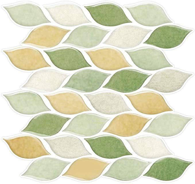Amazon Com Vancore Diy Peel And Stick Backsplash Tile Stickers Decal Waterproof 3d Leaves Wallpaper For Kitchen Bathroom Decor Home Kitchen