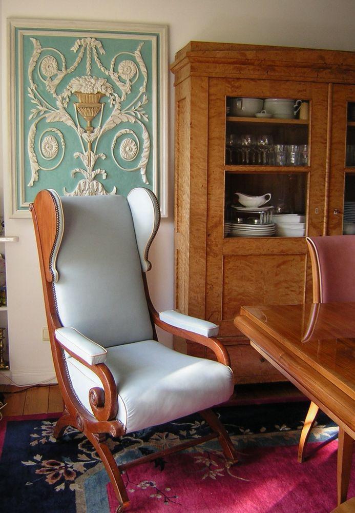 originaler biedermeier ohrensessel 1830 sog schinkel. Black Bedroom Furniture Sets. Home Design Ideas